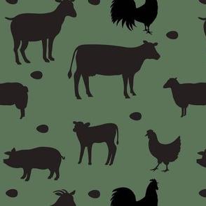 Farm Animals Black Dk Green Med