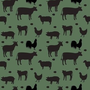 Farm Animals Black Dk Green Sm