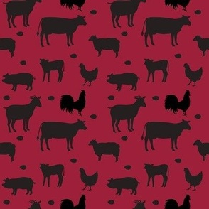 Farm Animals Black Red Sm