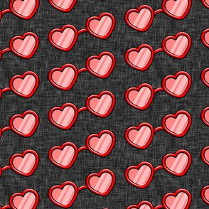 Heart Shaped Glasses - valentines day - red on dark grey - LAD19