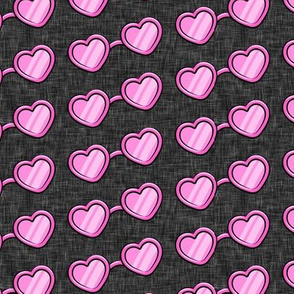 Heart Shaped Glasses - valentines day - pink on dark grey - LAD19