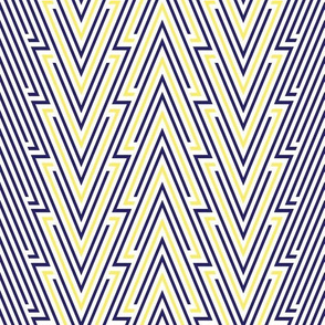Art Deco Blue Line Arrows With Yellow Accents