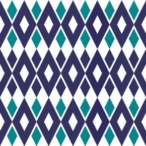 Art Deco Style Dark Blue and Teal Diamond Pattern on White Background