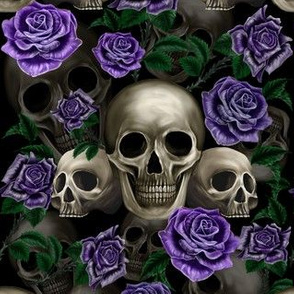 Skulls and purple roses