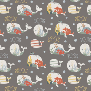 Undersea Cute Whales Soft Colors Kids Animal Modern Pattern