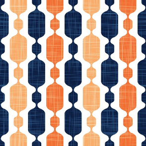 Normal scale // Meowsome 70s columns (coordenate) // peach yellow orange and navy blue with linen texture