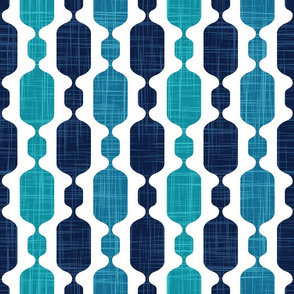 Normal scale // Meowsome 70s columns (coordenate) // teal blue lagoon and navy blue with linen texture