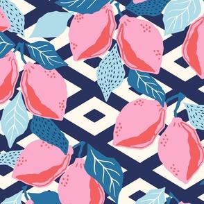 papercut lemons - blue/large scale