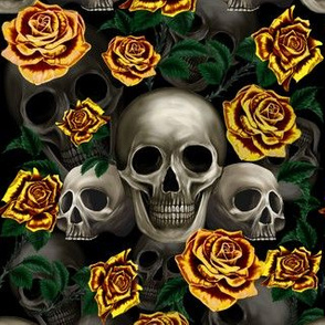 Skulls and yellow roses