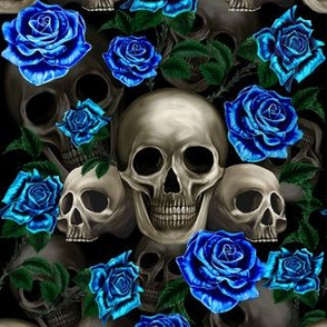 Skulls and blue roses