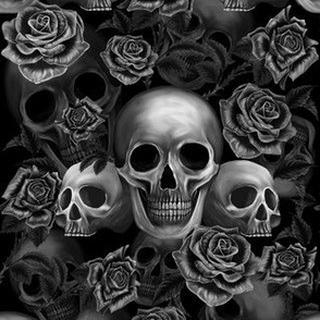 Skulls and roses black and white