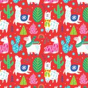 Christmas alpaca in red