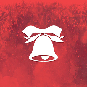 Christmas Bell With Red Snowflakes Background