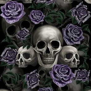 Skull and metalic roses