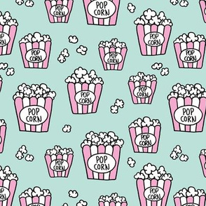 Pastel popcorn snack time pop art illustration food design mint pink