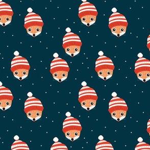 Little Scandinavian Christmas fox friends woodland animals for kids navy blue night orange