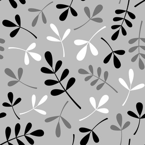 Assorted Leaves Large Pattern Monochrome