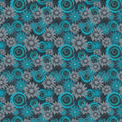 Teal and Charcoal floral