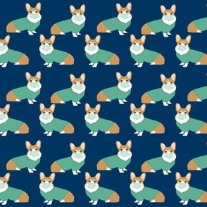 SMALL - corgi in scrubs fabric operating room dog fabric dog fabric - navy