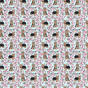 TINY - yorkie cherry blossom fabric - yorkshire terrier dog fabric cherry blossoms fabric - blue tint