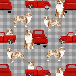 australian shepherd dog truck fabric - red vintage truck fabric, dogs and trucks fabric, dog fabric - grey plaid