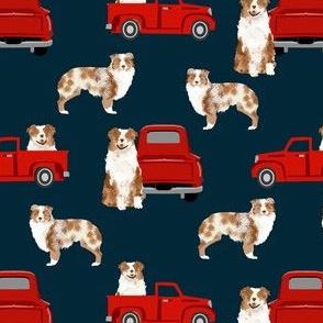 australian shepherd dog truck fabric - red vintage truck fabric, dogs and trucks fabric, dog fabric - navy