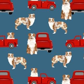 australian shepherd dog truck fabric - red vintage truck fabric, dogs and trucks fabric, dog fabric -  blue