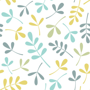 Assorted Leaves Lg Ptn Teals Green Yellow White