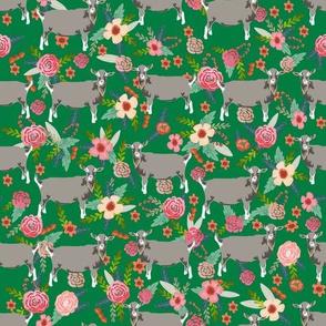 goat floral fabric - goat floral, farm floral, farm animals floral, toggenburg goat, toggenburg goat fabric, goat breeds - green