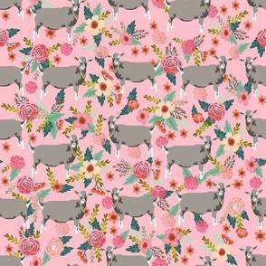 goat floral fabric - goat floral, farm floral, farm animals floral, toggenburg goat, toggenburg goat fabric, goat breeds -pink