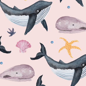 Watercolour Whales (Larger Scale)