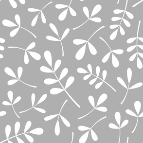 Assorted Leaves Lg Pattern White on Gray