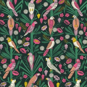 tropical birds linocut - tropical wallpaper, tropical birds, parrots, linocut wallpaper, woodcut wallpaper, tropical interior design - brights