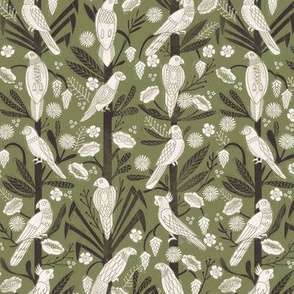 tropical birds linocut - tropical wallpaper, tropical birds, parrots, linocut wallpaper, woodcut wallpaper, tropical interior design - green