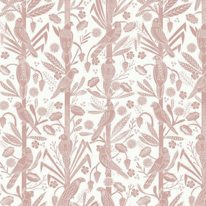 tropical birds linocut - tropical wallpaper, tropical birds, parrots, linocut wallpaper, woodcut wallpaper, tropical interior design - mauve