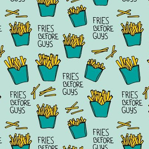 Fries before guys female friendship illustration pop art food design yellow mint teal