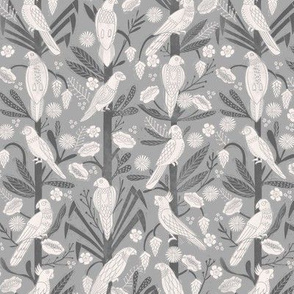 tropical birds linocut - tropical wallpaper, tropical birds, parrots, linocut wallpaper, woodcut wallpaper, tropical interior design - grey
