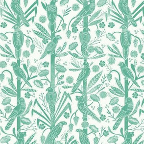 tropical birds linocut - tropical wallpaper, tropical birds, parrots, linocut wallpaper, woodcut wallpaper, tropical interior design - jungle green