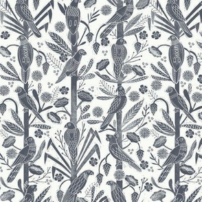 tropical birds linocut - tropical wallpaper, tropical birds, parrots, linocut wallpaper, woodcut wallpaper, tropical interior design - navy