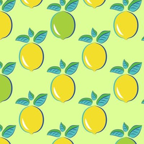 Citrus Pop art pattern lemon and lime green background