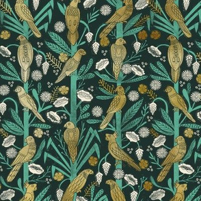 tropical birds linocut - tropical wallpaper, tropical birds, parrots, linocut wallpaper, woodcut wallpaper, tropical interior design - dark