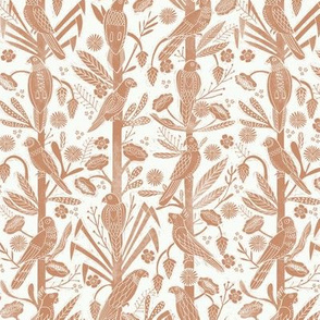 tropical birds linocut - tropical wallpaper, tropical birds, parrots, linocut wallpaper, woodcut wallpaper, tropical interior design - rust