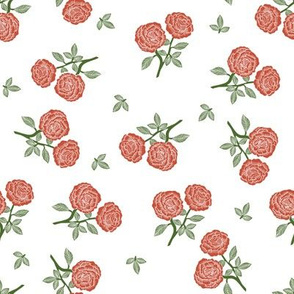 scattered roses fabric - baby girl linocut rose fabric, rose stamp, woodcut - red