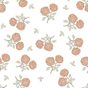 scattered roses fabric - baby girl linocut rose fabric, rose stamp, woodcut - caramel