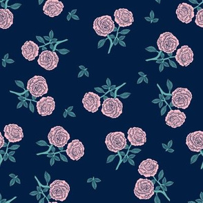 scattered roses fabric - baby girl linocut rose fabric, rose stamp, woodcut - dark blue