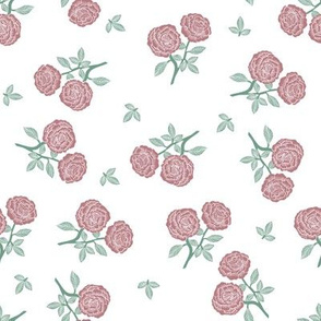 scattered roses fabric - baby girl linocut rose fabric, rose stamp, woodcut -mauve