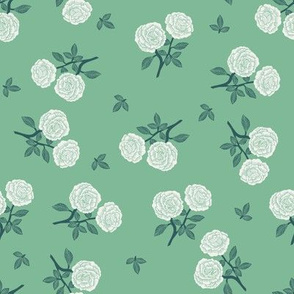 scattered roses fabric - baby girl linocut rose fabric, rose stamp, woodcut - green