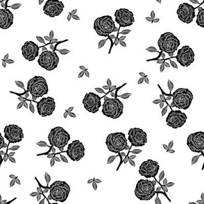 scattered roses fabric - baby girl linocut rose fabric, rose stamp, woodcut - black