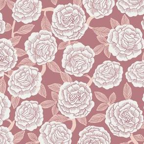 roses fabric - woodcut rose fabric, linocut roses fabric, baby girl nursery, valentines day - rose