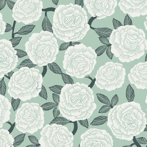 roses fabric - woodcut rose fabric, linocut roses fabric, baby girl nursery, valentines day - mint